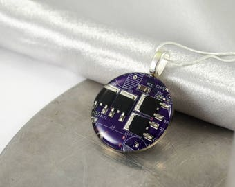 Circuit Board Necklace LARGE Violet, Recycled Motherboard Jewelry, Wearable Technology, Computer Gift, Computer Programmer, Upcycled