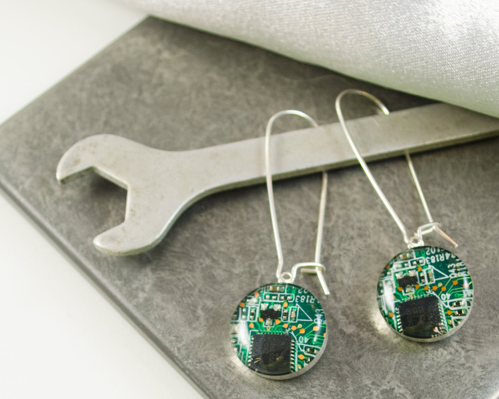 Green Recycled Circuit Board Earrings Sterling Silver Dangle Etsy Necklace Geekery Computer Nerd Upcycle Recycle