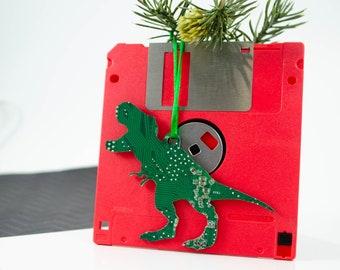 T-Rex Circuit Board Ornament, Geeky Tyrannosaurus Rex Ornament, Dinosaur Christmas Ornaments, Techie Stocking Stuffer, Christmas Tree Decor