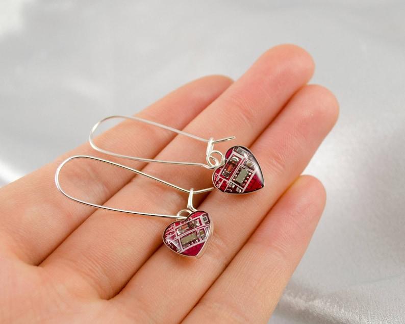 Geeky Valentines Day Gift Geek Earrings Gift Circuit Board Earrings Small Red Hearts Wearable Technology Sterling Silver Dangle Earrings