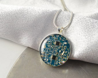 Circuit Board Necklace Blue, Software Engineer Gift, Scientist Upcycled Computer Jewelry, Motherboard Necklace, Geeky Gift for Her, Geekery