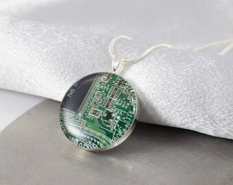 Circuit Board Necklace Green, Recycled Computer Circuit Board Jewelry, Geeky Necklace, Wearable Technology, Engineer Gift for Her, Geekery