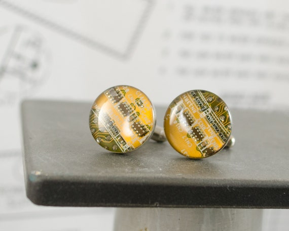 Yellow Circuit Board Cufflinks
