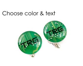 Monogrammed Circuit Board Cufflinks, Personalized Cuff Links, Geeky Jewelry, Custom Wedding Jewelry, Best Man Gift, Wearable Technology