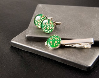 Circuit Board Cufflinks and Tie Bar Set Green, Wearable Technology, Electrical Engineer Gift, Formal Accessories, Geek Chic, Geekery