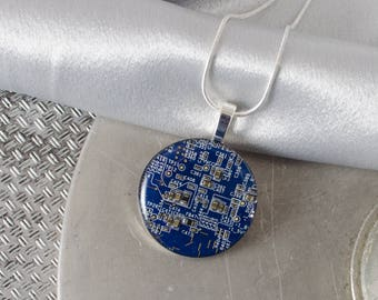 Circuit Board Necklace LARGE Blue, Recycled Motherboard Jewelry, Wearable Technology, Computer Gift, Computer Programmer, Upcycled