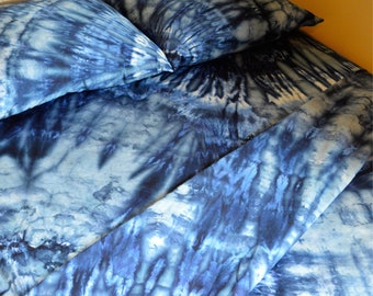 Indigo Queen Sized Sheet Set - Tie Dye - Bohemian Bedding - Blue