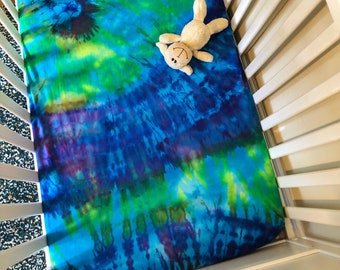 Tie Dye Crib Sheet - Bohemian Baby Decor- Baby Bedding - Fitted Sheet