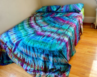 Mermaid Party Tie Dye Queen Sized Sheet Set