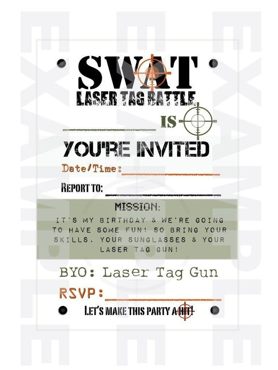 PDF: Laser Tag SWAT Fill-In Invitations -