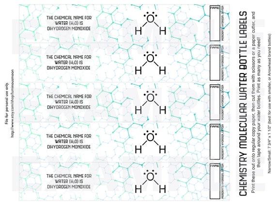 cfbcc9c90d PDF: Chemistry Molecular Water Bottle Label Wraps - Napkin Wraps with Water  Molecule Symbol