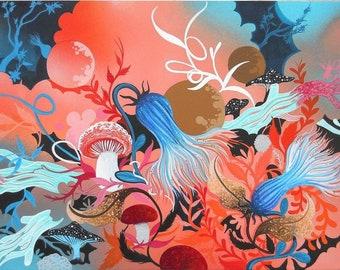 "8"" x 10"" Mushroom Fine Contemporary Art Nature Print Fungii Unmatted"