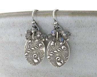 Dainty Laboradorite Earrings Silver Drop Earrings Cluster Earrings Beaded Simple Handmade Jewelry Floral Jewelry Gift Idea for Her - Lily