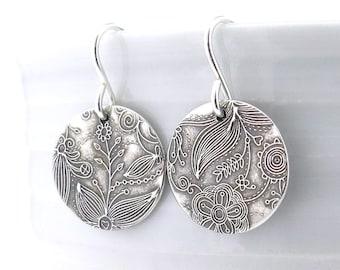 Small Silver Earrings Sterling Silver Jewelry Silver Dangle Earrings Floral Bohemian Flower Jewelry Rustic Jewelry - Unique Petites