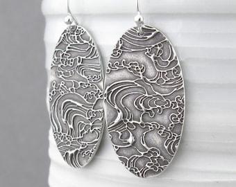 Long Dangle Earrings Bohemian Earrings Sterling Silver Earrings Oval Earrings Geometric Jewelry Unique Gift for Women - Hope