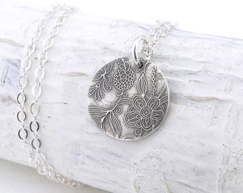Silver Flower Necklace Silver Necklace Pendant Silver Charm Necklace Silver Circle Necklace Charm Jewelry Bohemian Jewelry - Unique Petite