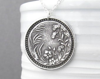 Wildflower Necklace  Long Silver Necklace  Sterling Silver Circle Pendant Necklace  30 Inch Necklace Holiday Gift for Her