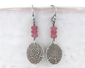 Pink Sapphire Earrings Silver Drop Earrings Sterling Silver Earrings September Birthstone Jewelry Silver Dangle Earrings Gift Idea - Tracey