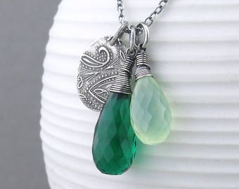 Emerald Necklace Green Chalcedony Necklace Silver Charm Necklace Gemstone Pendant Necklace Boho Necklace Christmas Gift - Duets