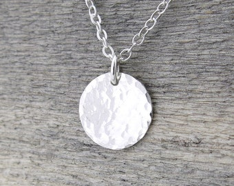 Minimalist Necklace Silver Tiny Silver Necklace Hammered Disc Necklace Sterling Silver Pendant Necklace Holiday Gift for Her