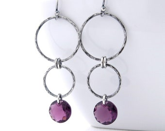 Bohemian Hammered Circle Drop Earrings w// Emerald Green Crystal and Amethyst
