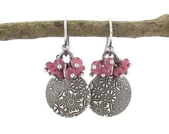 Pink Sapphire Earrings Dangle Silver Beaded Earrings Cluster Earrings Simple Jewelry September Birthstone Earrings Gift for Her - Lily