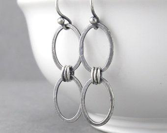 Simple Silver Earrings Silver Dangle Earrings Chain Link Earrings Geometric Jewelry Handmade Holiday Gift for Her Rustic Jewelry - Aubrey