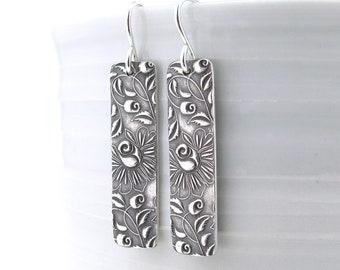 Bohemian Earrings Dangle Silver Earrings Bar Earrings Modern Jewelry Boho Jewelry Gift for Women Silver Jewelry - Bar