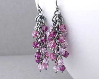 Unique Pink Earrings Pink Beaded Earrings Pink Crystal Earrings Silver Jewelry Beaded Jewelry Crystal Jewelry - Shaggy Loops
