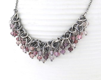 Multi Spinel Necklace Silver Gemstone Statement Necklace Pink Necklace Sterling Silver Boho Necklace Unique Handmade Jewelry - Shaggy Loops
