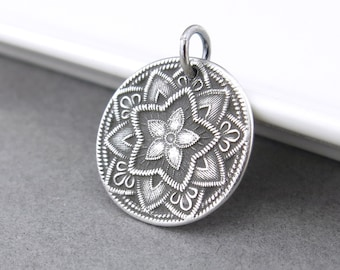 Silver Flower Pendant Five Point Flower Charm Sterling Silver Pendant Sterling Silver Charm Interchangeable Add On Small Silver Charm Only
