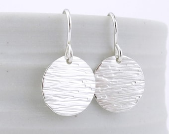 Small Hammered Circle Earrings Silver Earrings Round Disk Earrings Tiny Drop Earrings Handmade Silver Jewelry Gift for Her - Unique Petites