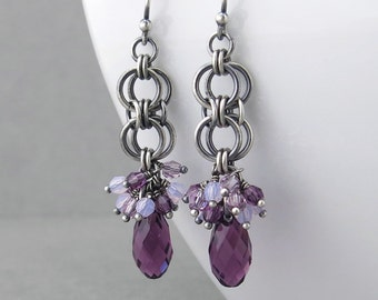 Purple Crystal Earrings Silver Drop Earrings Purple Earrings Sterling Silver Jewelry Amethyst Earrings Crystal Jewelry - Teardrop