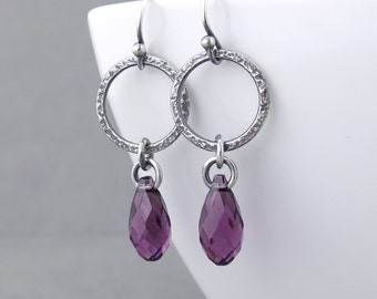 Amethyst Earrings Silver Jewelry Purple Crystal Earrings Silver Circle Earrings February Birthstone Jewelry Gift for Her - Annabelle