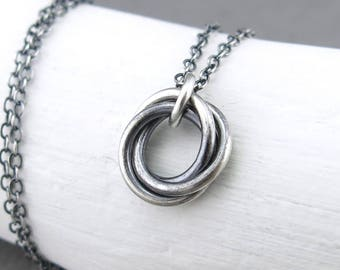Modern Silver Necklace Pendant Necklace Christmas Gift for Women Beauty Gift Wife Gift Stocking Stuffer Gift Modern Jewelry - Love Knot