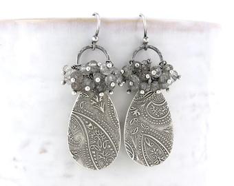 Black Tourmalinated Quartz Earrings Gemstone Cluster Earrings Handmade Statement Jewelry Beaded Earrings Gift for Her - Elizabeth