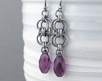 Amethyst Earrings Silver Dangle Earrings Sterling Silver Earrings Purple Crystal Earrings Bohemian Jewelry Birthstone Jewelry - Teardrop
