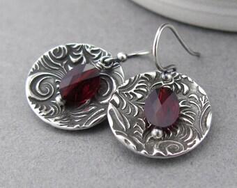 Garnet Earrings Silver Dangle Earrings Red Crystal Earrings January Birthstone Jewelry Bohemian Jewelry Crystal Jewelry Gift Idea - Contrast