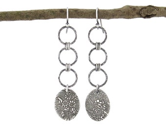 Long Hammered Silver Earrings Silver Dangle Earrings Geometric Jewelry Handmade Holiday Gift for Her Rustic Jewelry - Ashley