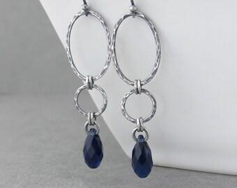 Long Earrings for Women Indigo Crystal Earrings Silver Drop Earrings Navy Blue Earrings Geometric Jewelry Gift for Her - Adorned Aubrey