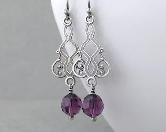 Dainty Purple Earrings Amethyst Earrings Crystal Earrings Crystal Drop Earrings Crystal Jewelry Gift Under 50 - Moroccan Dreams