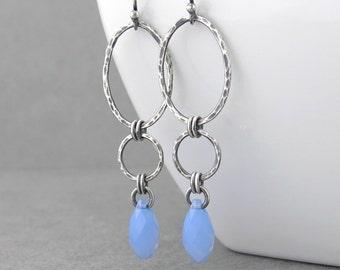 Long Earrings for Women Silver Drop Earrings Blue Crystal Earrings Geometric Jewelry Gift for Her - Adorned Aubrey