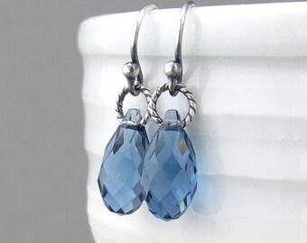 Tiny Drop Earrings September Birthstone Earrings Blue Sapphire Earrings Sterling Silver Jewelry Blue Crystal Earrings - Petite Drops