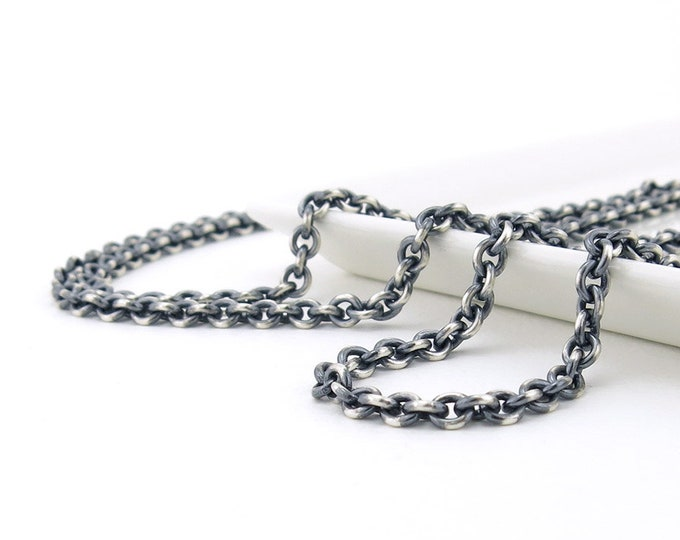 Mens Chain Necklace Heavy Silver Necklace 4.3mm Cable Chain Oxidized Heavy Weight Silver Necklace Chain Unisex Jewelry Mens Jewelry