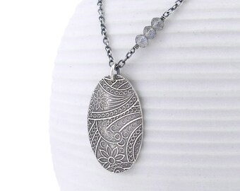 Labradorite Necklace Paisley Necklace Unique Silver Pendant Necklace Gemstone Jewelry Boho Necklace - Held Within