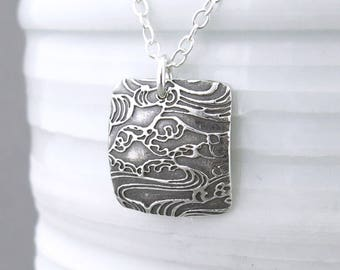 Square Silver Necklace Pendant Silver Square Necklace Boho Necklace Ocean Jewelry Gift Travel Gift Nature Lover Gift - Unique Petite