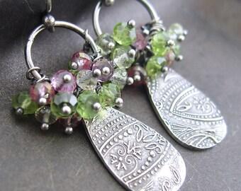 Elizabeth Earrings No. 1 - Pink Topaz, Peridot, Lemon Quartz, Fine and Sterling Silver