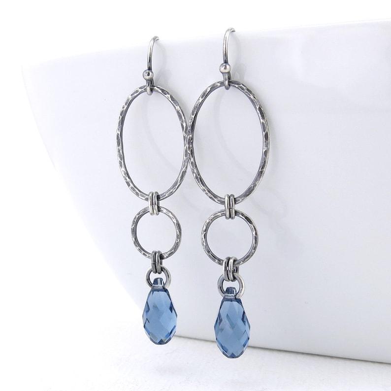 Long Dangle Earrings Silver Drop Earrings Blue Crystal image 0