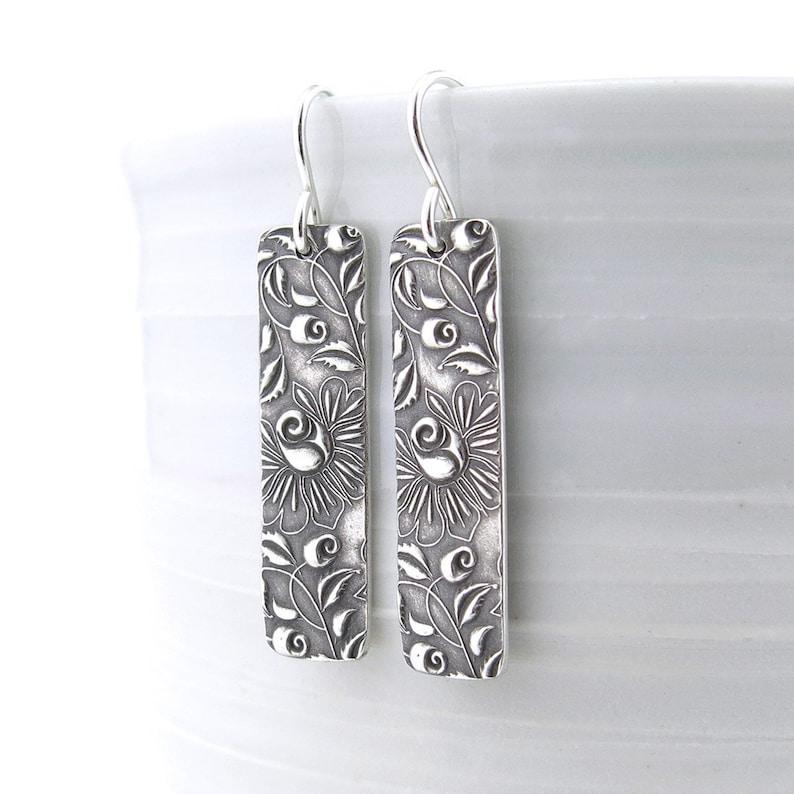 Bohemian Earrings Dangle Silver Earrings Bar Earrings Modern image 0