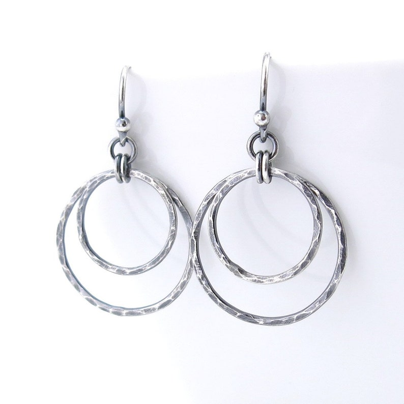 5307c4fd67984 Simple Silver Circle Earrings Drop Earrings Handmade Rustic Silver Jewelry  Gift for Women - Shimmer Layers